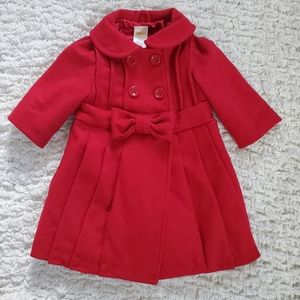Gymboree 6 - 12 months red pleated coat